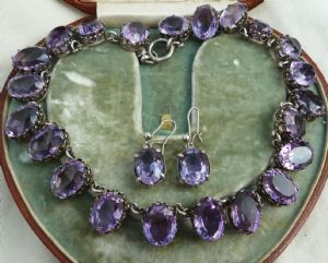 Stunning early victorian 132ct amethyst silver choker necklace and earrings set